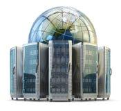 Het netwerktechnologie van Internet en van de computer, het globale concept van de gegevensopslag Stock Foto
