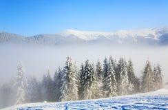 Het nevelige landschap van de de winterberg royalty-vrije stock foto