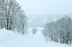 Het nevelige landschap van de de winterberg Royalty-vrije Stock Foto's