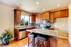 Het nieuwe binnenland van de huiskeuken met donkere bruine kabinetten. Royalty-vrije Stock Afbeelding