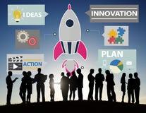 Het nieuwe Concept van de Technologieideeën van de Bedrijfsinnovatiestrategie Royalty-vrije Stock Foto's