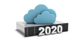 2020 Het nieuwe die jaar, gegevensopslag gegevensverwerking betrekt en server op witte achtergrond wordt geïsoleerd 3D Illustrati stock illustratie