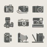 Het nieuwe en retro pictogram van de camera royalty-vrije illustratie