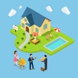 Het nieuwe familiehuis verkocht onroerende goederenvlak 3d isometrische vector Royalty-vrije Stock Foto