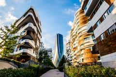 Het nieuwe Hoofdkwartier van wolkenkrabbergenerali ontwierp door Zaha Hadid Architects bij Citylife-district royalty-vrije stock foto's