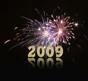 Het nieuwe jaar 2009 van het vuurwerk Stock Fotografie