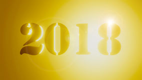 het nieuwe jaar 3d 2018 geeft goud terug royalty-vrije illustratie