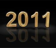 Het nieuwe jaar 2011 in goud Stock Afbeelding