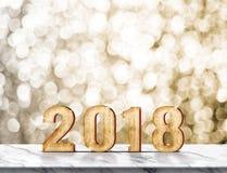 Het nieuwe jaar 2018 houten aantal 3d teruggeven op marmeren lijst met s Royalty-vrije Stock Afbeelding