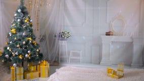 Het nieuwe jaar, Kerstmis, stelt, open haard in woonkamer voor Niemand, geen mensen De achtergrond van het nieuwjaar stock videobeelden