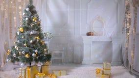 Het nieuwe jaar, Kerstmis, stelt, open haard in woonkamer voor Niemand, geen mensen De achtergrond van het nieuwjaar stock video