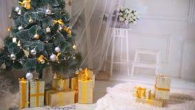 Het nieuwe jaar, Kerstmis, stelt, open haard in woonkamer voor Niemand, geen mensen De achtergrond van het nieuwjaar stock footage