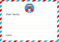 Het Nieuwe jaar ` s van de malplaatjeenvelop of Kerstmisbrief aan leuke Afrikaanse Santa Claus De kaart van de groet Vector illus Royalty-vrije Stock Afbeelding
