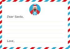 Het Nieuwe jaar ` s van de malplaatjeenvelop of Kerstmisbrief aan leuke Aziatische Santa Claus De kaart van de groet Vector illus Royalty-vrije Stock Foto