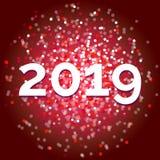 Het nieuwe jaar 2019, stelt zich voor rood vector schitter stock afbeelding