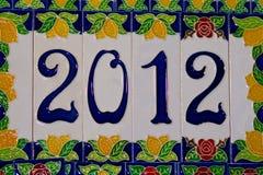 het nieuwe jaar van 2012 dat met kleurrijke tegels wordt gemaakt Stock Fotografie