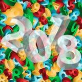 Het nieuwe jaar van 2018, 3d kaart, vector stock illustratie