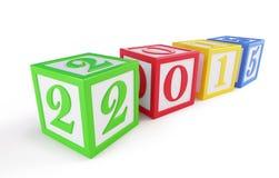 Het nieuwe jaar van de alfabetdoos 2015 op een witte achtergrond Stock Foto's