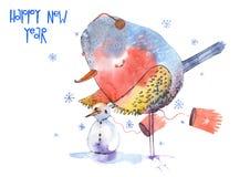 Het nieuwe jaar van de waterverfvogel Royalty-vrije Stock Afbeeldingen