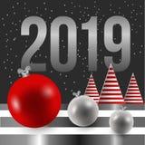 Het nieuwe jaar van 2019 Kerstkaart, gestreept Kerstboom en Kerstmisspeelgoed Royalty-vrije Stock Afbeelding