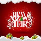 Het nieuwe jaar van letters voorzien in het centrum op rode achtergrond met giftdozen Royalty-vrije Stock Afbeeldingen