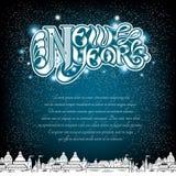 Het nieuwe jaar van letters voorzien op blauwe achtergrond met witte stad Stock Foto's