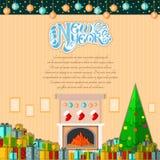 het nieuwe jaar van letters voorzien op de achtergrond van de beeldverhaalruimte met huidige dozen Royalty-vrije Stock Afbeelding