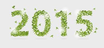 het nieuwe jaar van 2015 met origamidocument vogel op samenvatting Vector Royalty-vrije Stock Foto