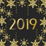 Het nieuwe jaar van 2019 met vlokken en sterrendecoratie stock illustratie