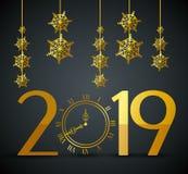 Het nieuwe jaar van 2019 met vlokken het hangen royalty-vrije illustratie