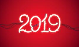 Het nieuwe jaar 2019 van het neonteken Stock Afbeeldingen
