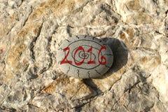 het nieuwe jaar van 2016 op het strand Stock Foto's