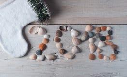 Het nieuwe jaar 2018, zeeschelpen op houten achtergrond, Stock Foto
