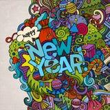 Het nieuwe jaarhand van letters voorzien en krabbelselementen Stock Foto