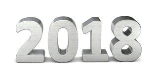 Het nieuwe jaartekst zilveren 2018 3d teruggeven royalty-vrije illustratie