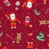 Het nieuwe naadloze patroon van het jaarthema De Kerstman, herten en nieuw van de jaargift rood patroon als achtergrond vector illustratie