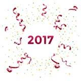 Het nieuwe ontwerp van het jaar 2017 malplaatje met wimpel en confettien Stock Fotografie