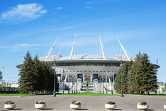 Het nieuwe Stadion & x28 van voetbal heilige-Petersburg; Krestovsky& x29; in St. Petersburg Stock Afbeelding