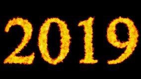 Het nieuwe het woordconcept van de jaartekst branden op zwarte achtergrond royalty-vrije illustratie