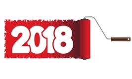 2018 het nieuwjaar is geschilderd met een rolle Royalty-vrije Stock Fotografie