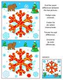 Het nieuwjaar of Kerstmis vindt het raadsel van het verschillenbeeld met beer en sneeuwvlok stock illustratie