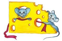 Het Nieuwjaar van de kaas en van twee muis Stock Illustratie