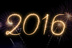 Het Nieuwjaar 2016 van de vuurwerktekst Royalty-vrije Stock Fotografie