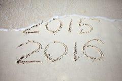 Het nieuwjaar 2016 vervangt 2015 Stock Foto