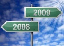 Het nieuwjaar voorziet 2009 van wegwijzers Royalty-vrije Stock Fotografie