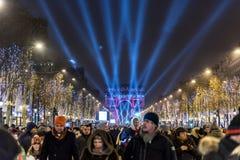 Het Nieuwjaartelling van Parijs neer Royalty-vrije Stock Afbeeldingen
