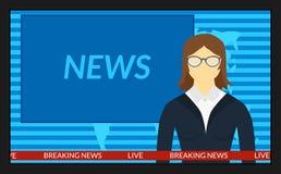 Het nieuws op TV stock illustratie
