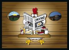 Het nieuws van de ochtend bij het kippenhok Stock Foto