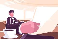 Het nieuws van de zakenmanlezing in ochtendpers royalty-vrije illustratie