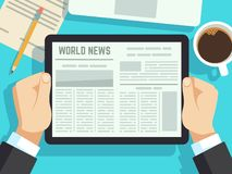 Het nieuws van de zakenmanlezing op lijst Online krant, dagelijkse tijdschriften Bedrijfsnieuws bij ontbijt vectorconcept royalty-vrije illustratie